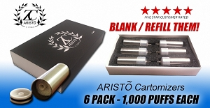 ZC ARISTO 6 Pack Cartomizers (Blank / Refill Them)